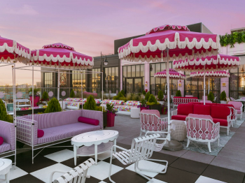 The Graduate's Glam Rooftop Is a Pink-Splashed Eclectic Ode to Dolly Parton
